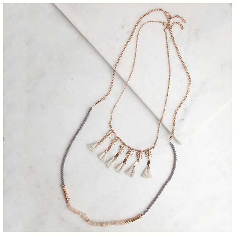 Bead & Tassle Necklace -  gold-assorted