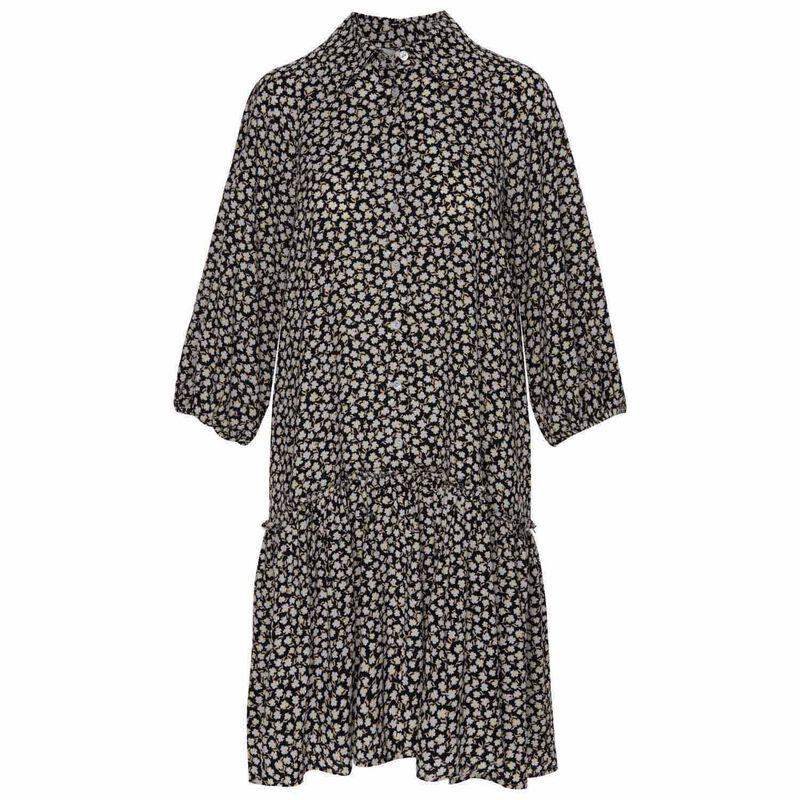 Arya Printed Dress -  black