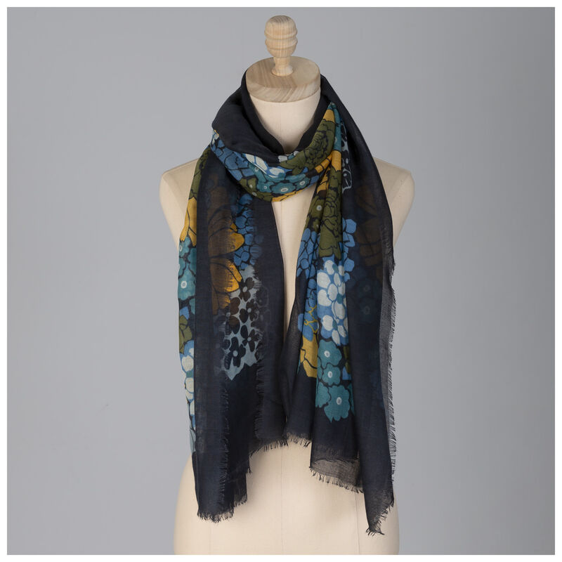 Clara Floral Scarf -  teal-yellow