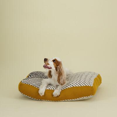 Black & Milk Striped Dog Pillow