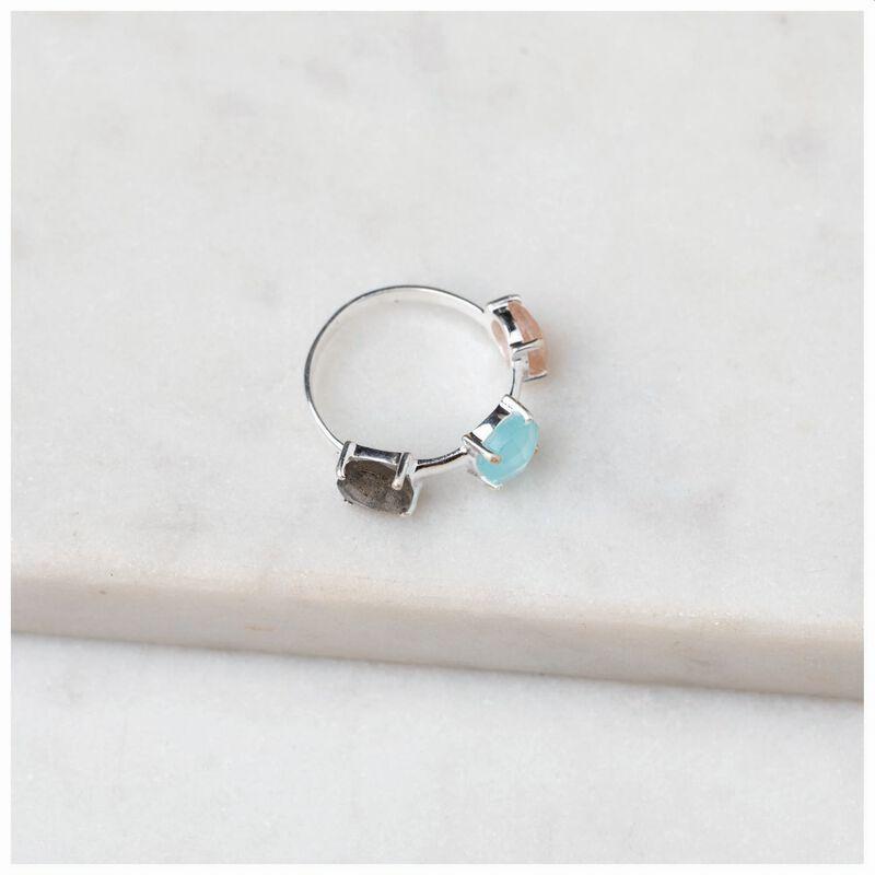 Crystal Trio Silver Ring -  silver