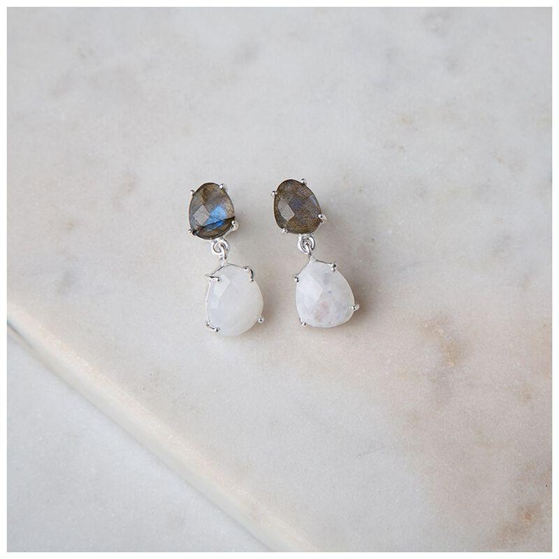 Labradorite & Moonstone Silver Drop Earrings -  green