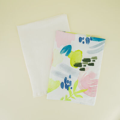 2-Pack Watercolour Waffle Tea Towel