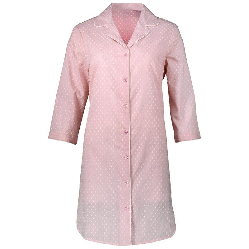 Swiss Dot Pink Sleep Shirt -  pink-white