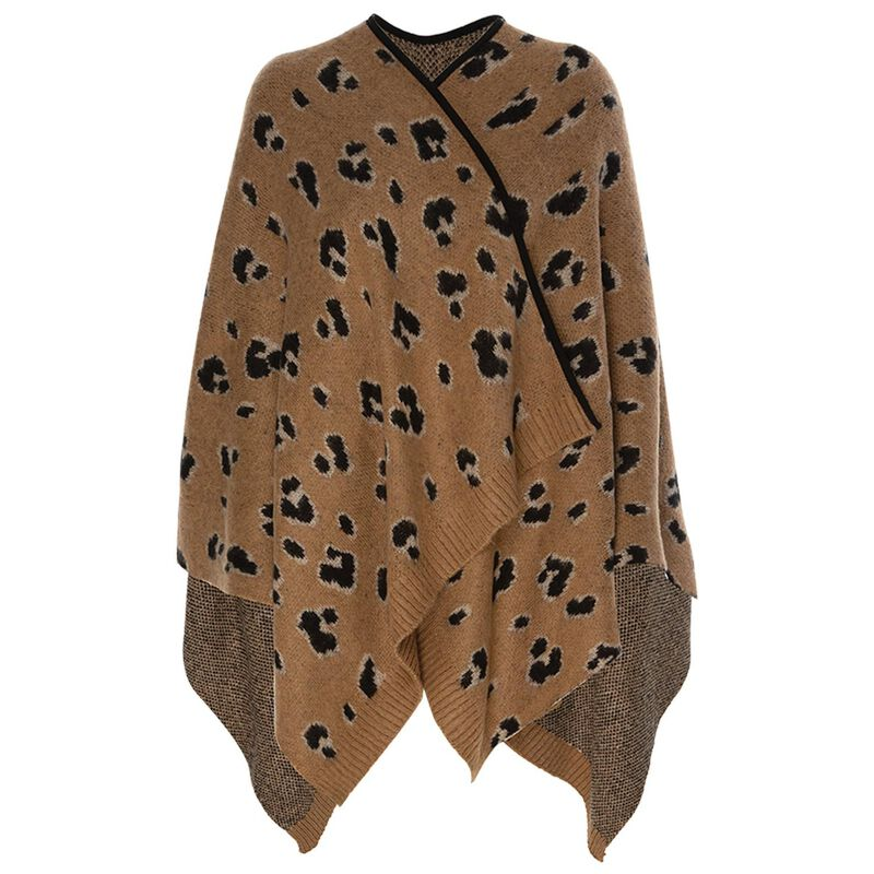 Kaitlyn Leopard Print Shawl -  brown