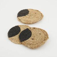 Natural & Black Seagrass Coaster Set -  oatmeal-black