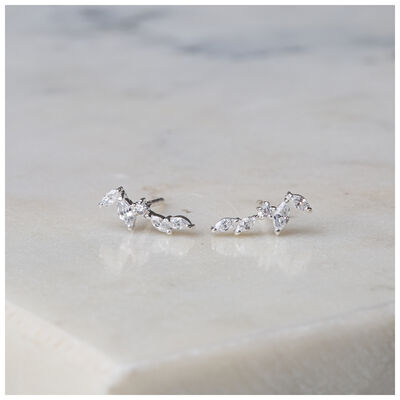 Silver & Clear Crystal Dainty Leaf Earrings