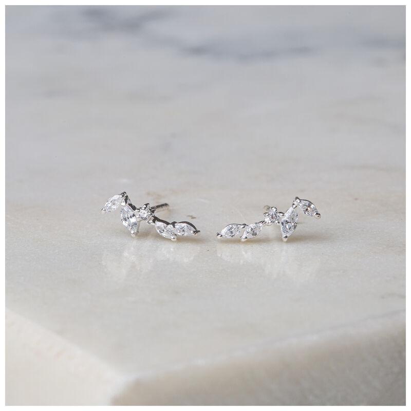 Silver & Clear Crystal Dainty Leaf Earrings -  silver