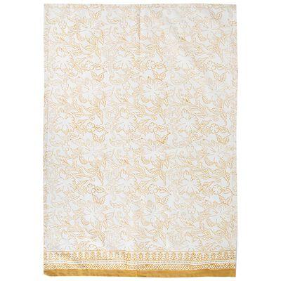 Rust Blockprinted Tea Towel with Tassels