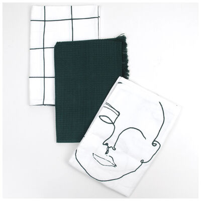 Abstract and Greens Waffle Tea Towel Set