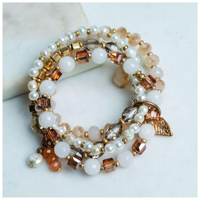 4 Strand Pearl & Bead Stretch Bracelet Set -  grey-gold