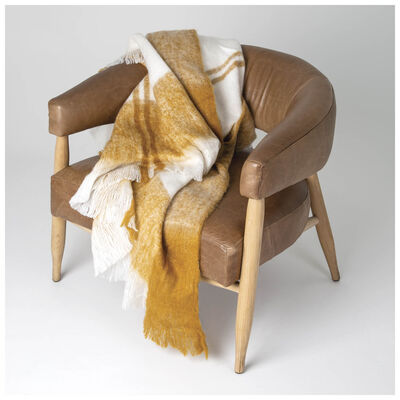 Ochre & Milk Checked Throw