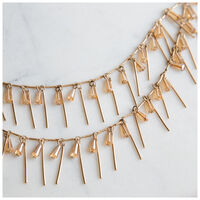 3-Tier Stone & Bar Necklace -  gold-brown