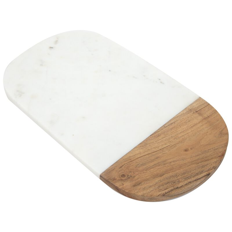 Pill Shaped Marble & Wood Board -  white-brown