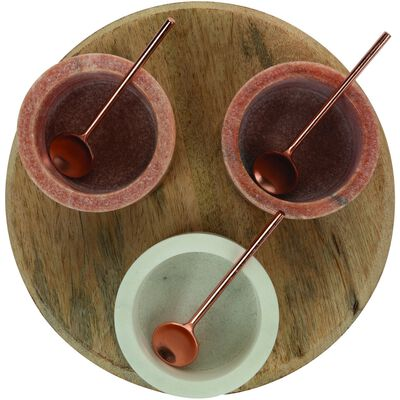 Pink and White Condiment Set on Wooden Board
