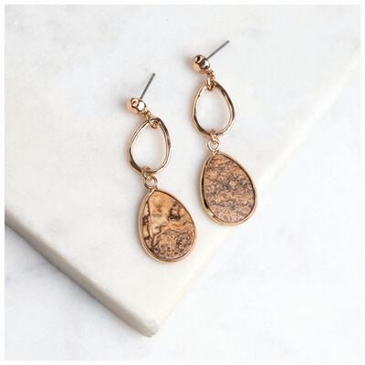 Speckled Stone Layered Teardrop Earrings