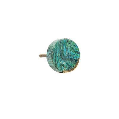 Green Marble & Brass Round Knob