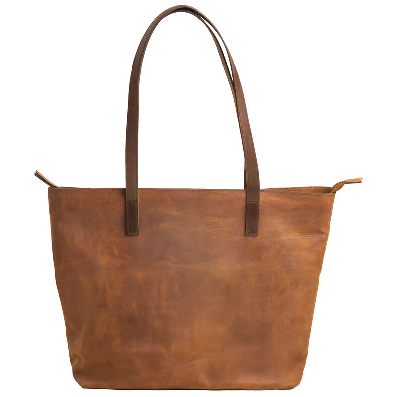 Nathaly Leather Tote Bag -  tan-brown
