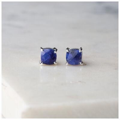Silver & Sapphire Stud Earrings