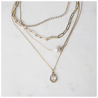 Freshwater Pearl & Layered Chain Necklace -  gold-milk