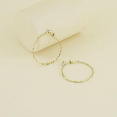 Delicate Medium Hoop Earrings with Stones