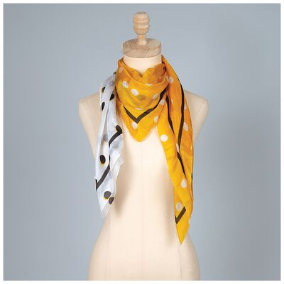 Joeli Silk Colour Blocked Dotted Scarf