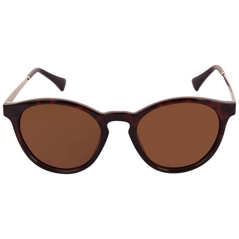 Polarised Contemporary Round Sunglasses -  brown-yellow