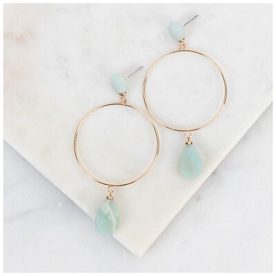 Stone & Circle Earrings