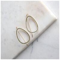 Geometric Drop Earrings -  gold-darkolive