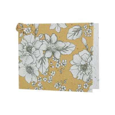 Ochre/White Floral Growing Paper Tag