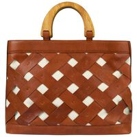 Luciana Basket Weave Leather Bag -  tan-tan