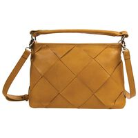 Denise Leather Plaited Tote Bag -  yellow