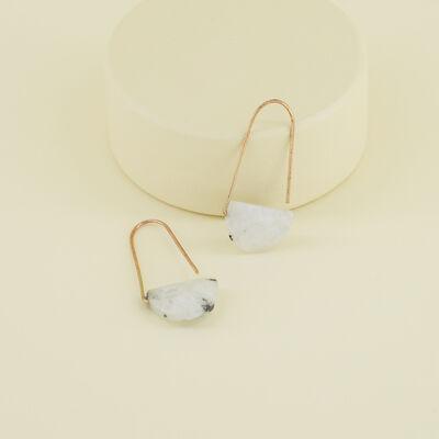 Natural Stone Halfmoon Hook Earrings