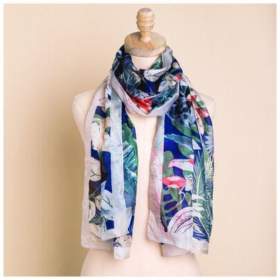 Violet Silk Floral Printed Scarf