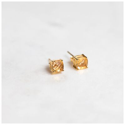 Citron & Gold Plated Silver Stud Earrings