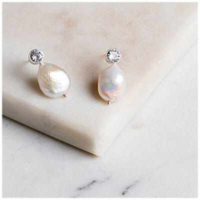 Silver, Blue Topaz & Freshwater Pearl Stud Earrings