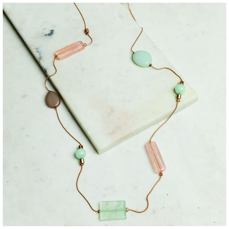 Assymetrical Resin Satellite Necklace -  peach-sage