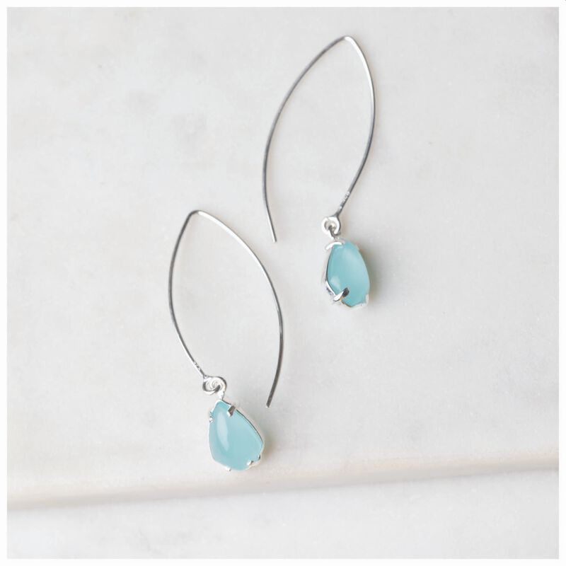 Chalcedony Diamond Shape Drop Earrings -  aqua-silver