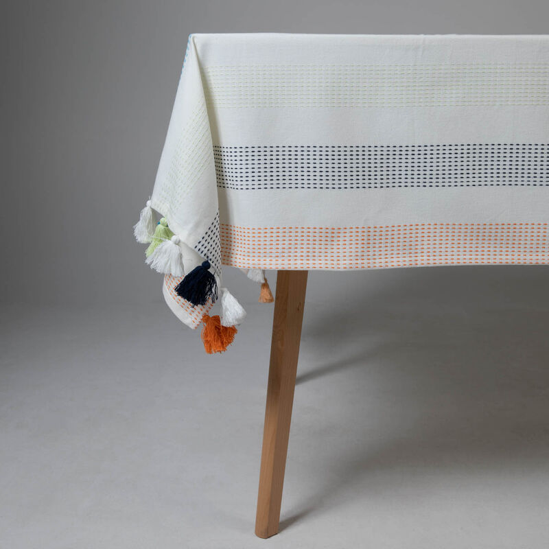 Stripe Tassel Tablecloth -  assorted