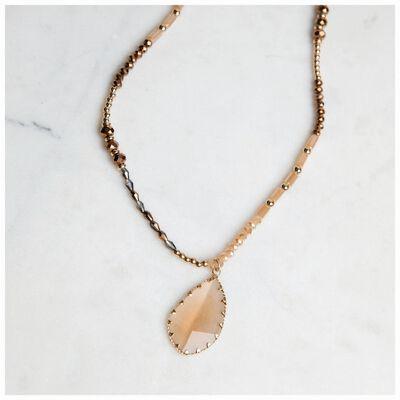 Stone & Bead Pendant Necklace