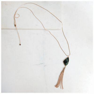 Asymmetric Stone & Chain Tassel Pendant Necklace