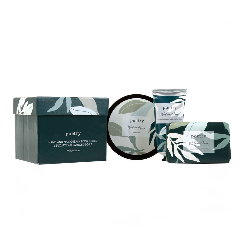Willow Moss Body Butter, Hand Cream & Soap Gift Set -  teal-white