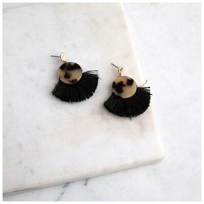Resin & Tassel Fan Earrings