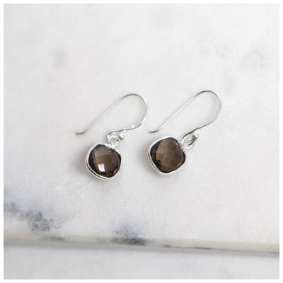 Silver & Smokey Quartz Cushion Drop Earrings