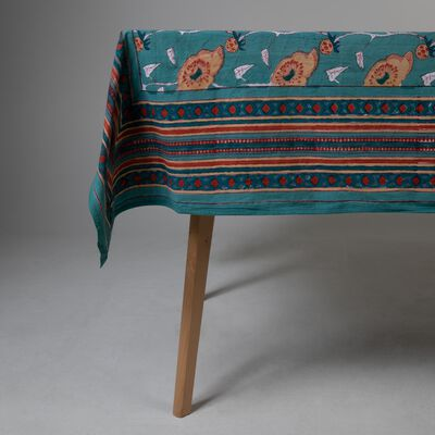 Teal & Rust Tablecloth