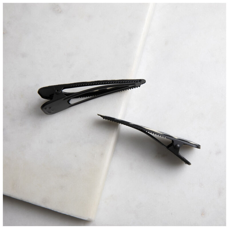 2 Pack Triangle Leopard Clips -  black-grey