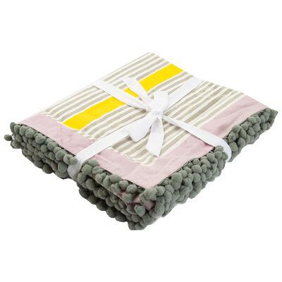 Stripe Tablecloth with Pompom Detail