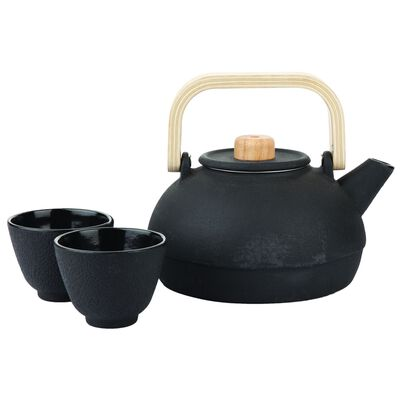 Black Cast Iron Teapot with Bamboo Handle & 2 cups