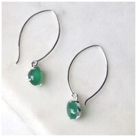 Green Onyx Drop Earrings -  emerald-silver
