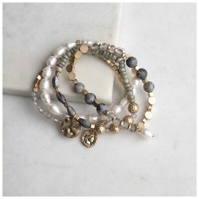 Stone & Pearl Stretchy Bracelet Set